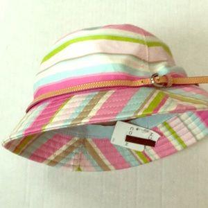 Coach Accessories - Coach hat NWT pink green striped bucket rain hat